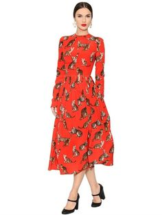 Dolce & Gabbana | Zambia Printed Silk Crepe De Chine Dress | Gathered neckline, long sleeves, unlined