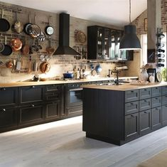 Image result for dark cabinet kitchen designs