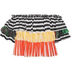 Caroline Constas Pandora off-the-shoulder lace-trimmed striped cotton... (€415) ❤ liked on Polyvore featuring tops, caroline constas, striped, tier top, striped top, stripe top, sleeve top and lace trim top