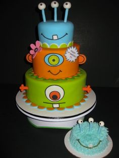 Monsters Birthday Cake @Erin Tate for Benton's birthday maybe??? This is too cute.