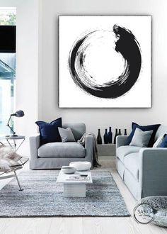 Large Black And White Abstract Painting / Original Artwork / Unique Painting / Abstract Art / Extra Large Wall Art / Circle on Canvas Black And White Abstract, Large Black, Black And White Artwork, Original Artwork, Original Paintings, Large Artwork, Abstract Wall Art, Painting Abstract, Painting Art