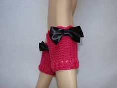 Fuschia Pink Crochet Boot Cuffs with black by OtiliaBoutique, $25.00