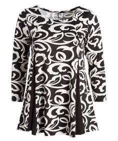 This Black & White Scroll Godet Tunic - Plus is perfect! #zulilyfinds