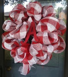 Alabama Red and White Checked Burlap Mesh Wreath by CreatedByMeme, $75.00