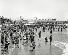 U.S. Atlantic City bathing beach and Steeplechase Pier, The Jersey Shore circa 1908.