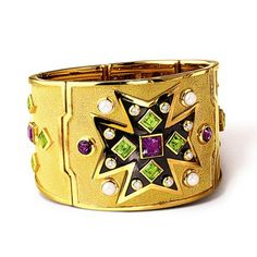 VERDURA - Maltese Cross Bracelet -  Iconic Maltese Cross motif in amethyst, peridot,  pearl, diamond and 18k hammered yellow gold, hinged