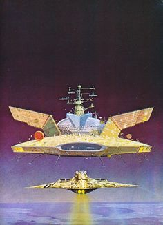 """Painting by Angus McKie from """"Terran Trade Authority Handbook: Spacecraft 2000 to 2100 AD"""" by Stewart Crowley, 1978."""