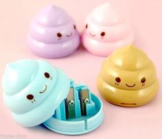 Items similar to Cute Kawaii Poop Sharpeners / Kawaii Pencil Sharpeners / Cute Pencil Sharpeners / Cute Stationery / Kawaii Stationery / Cute School Supplies on Etsy Kawaii Stationery, Stationery Set, Objet Wtf, School Suplies, Cute Desk, Cute School Supplies, Cute Stationary School Supplies, Office Supplies, Pencil Sharpener