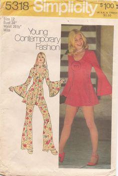1970s Retro MICRO MINI Dress, Bikini Pants and Bell Bottom Pants Sewing Pattern via Etsy