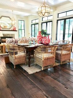 Rattan Seating Kitchen Dining Room Southern Living Homes Hamptons House