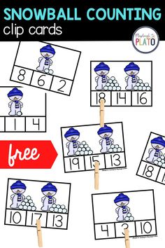Pre-K and Kindergarten students need to practice counting and our snowman counting cards are a fun way for early learners to practice this math skill. This math activity covers 0-20.