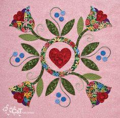 Heart & Tulips Quilt Block
