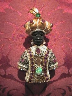 "Venetian blackamoor brooche ""Black Opal"" Yellow Gold 18 kt & SIlver 800 Rubies Opal Black Emeralds Pearls Head - in carved ebony Little Pearl of Persia Old year 1961"