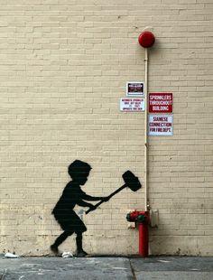 """Boy and Hammer"" New Street Art de Banksy para mejor que en. 20 de octubre. 1"