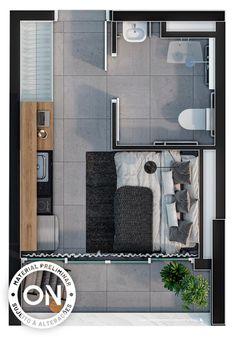 Life is on Studio Apartment Floor Plans, Studio Apartment Layout, Small Studio Apartments, Apartment Plans, Layouts Casa, House Layouts, Interior Design Renderings, Luxury Interior Design, Bachelor Room