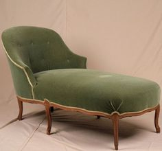 if it was reuphulstered and a better tufting job Green Velvet French Louis XV Antique Style Chaise Lounge Settee Loveseat Sofa | eBay