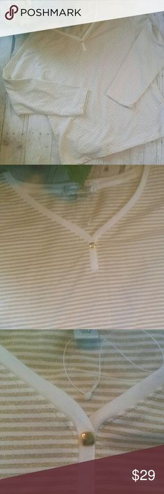 Coldwater Creek Long Sleeve Shirt Gold and white stripe shirt. The gold has sparkles with a v-neck and gold color closure. The V-neck and placket trimmed in white.  Smoke free/pet friendly home Coldwater Creek Tops Tees - Long Sleeve