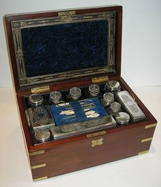 Large Antique Brass Bound Fitted Mahogany Dressing Box ca. 1870