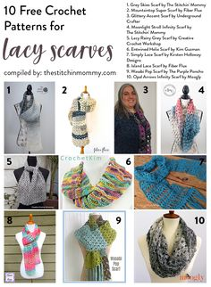It& almost scarf weather and I couldn& be more excited! I have compiled a list of 10 free lacy scarf (and cowl) patterns for you to whip up for fall! Tunisian Crochet, Crochet Shawl, Crochet Lace, Crochet Stitches, Free Crochet, Crochet Patterns, Crochet Ideas, Crochet Projects, Cowl Patterns