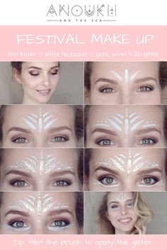 Here it is – Another festival make up pictorial with lots of glitter this time. It is super easy to apply. All you need: ☆ medium thin brush ☆ water ☆ white…