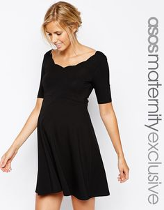 Image 1 of ASOS Maternity Scallop Skater Dress