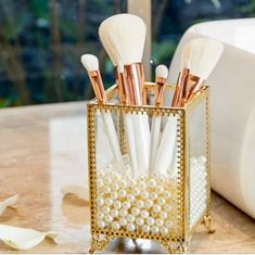 PuTwo Makeup Brush Holder Glass and Brass Vintage Makeup Brush Organizer Handmade Cosmetic Brush Storage with White Pearls for Dresser Vanity Countertop - Gold It Cosmetics Brushes, Makeup Brushes, Vanity Countertop, Handmade Cosmetics, Makeup Brush Holders, Vintage Makeup, Beauty Junkie, Lip Pencil, Cute Makeup