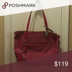 """Coach Purse This is must have for Every COACH Lover - For you or as a gift! Used only a few days  MSRP $178   Measurements Approx. (inches):  13 1/2"""" (L) x 10 3/4"""" (H) x 4"""" (W)  Coach C's edged with metallic thread add glamorous shimmer to this zip-top fabric tote: a spacious silhouette with a polished look, straps that sit perfectly on the shoulder, and an exterior pocket that keeps essentials within easy reach.  Signature metallic outline fabric with patent fabric trim  Inside zip & cell…"""