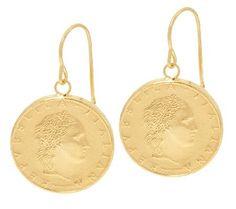 Vicenza Gold 50 Lire Coin Dangle Earrings, 14K