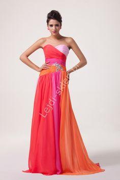 Sukienka wieczorowa w odcieniach różowo pomarańczowych| sukienki wieczorowe…