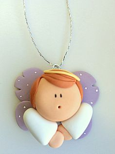 Items similar to Sweet Angel Figurines - Christmas Ornaments - Baptism Favors - Party Favors on Etsy Polymer Clay Ornaments, Polymer Clay Christmas, Polymer Clay Canes, Polymer Clay Flowers, Polymer Clay Projects, Handmade Polymer Clay, Clay Crafts, Christmas Angels, Christmas Ornaments