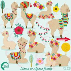 Llama Clip Art Llama clipart Alpaca clipart for