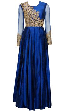 Dark blue dori embroidered pleated anarkali gown available only at Pernia's Pop-Up Shop.