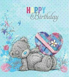 Happy Birthday (gray bear with heart) Happy Brithday, Happy 2nd Birthday, Happy Birthday Messages, Happy Birthday Quotes, Happy Birthday Greetings, Friend Birthday, Birthday Wishes, Tatty Teddy, Teddy Bear Quotes