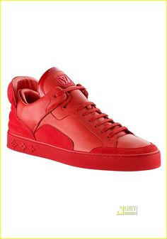 After a first hint a couple of weeks ago we can show you a nice image of one of the Kanye West designed Louis Vuitton sneakers today in a red colorway. The shoes will be released in Louis Vuitton stores in June Sneakers Paris, Sneakers Mode, Red Sneakers, Sneakers Fashion, Kanye West, Louis Vuitton Sneakers, Louis Vuitton Prices, Vogue, Mode Style