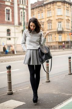 gray Chicwish skirt - heather gray Chicwish sweater; too much gray, but the cuts are nice