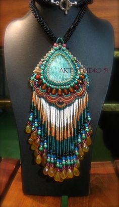 unique beadwork of art Amazonite pendant beaded. I made only one piece. This good for gift, will be great for you or your special person. It is easy,