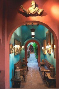 Mexico Quinta Quebrada in San Miguel de Allende. Love the turquoise walls!