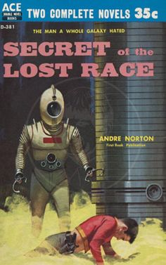 Secret of the Lost Race - Giclée Canvas Print of Vintage Pulp Science Fiction Paperback Pulp Fiction, Fiction Novels, Sci Fi Novels, Sci Fi Books, Andre Norton, Science Fiction Kunst, Ace Books, Classic Sci Fi, Retro Futurism