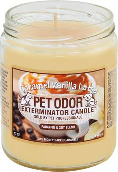 Pet Products By Royal - Pet Odor Exterminator Candle -  Caramel Vanilla Latte, $6.99 (http://www.petproductsbyroyal.com/pet-odor-exterminator-candle-caramel-vanilla-latte/)