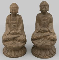 Asian Decor: Stone Buddha Seated on Lotus Pedestal from Hebei Province, China