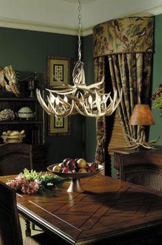 Antler Chandelier Deer Home Decor 16x27 11 Antlers 6 Lights 16 lbs Sale | eBay