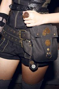 Steampunk Hüftgürtel mit Tasche - black