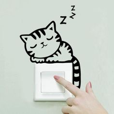 Removable Wall Stickers Cartoon Cat Light Switch Art Mural Home Decor Decals Wall Stickers Cats, Removable Wall Stickers, Wall Decals, Wall Vinyl, Stickers For Walls, Bedroom Wall Stickers, Phone Stickers, Mural Wall, Wall Stickers Home Decor