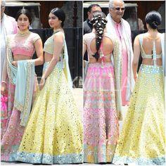 May 8, 2018:  #sonamanandwedding#sonamkishaadi Janhvi Kapoor and Khushi Kapoor in beautiful summer lehengas, backless choli blouse, with father Boney. #janhvikapoor #everydayphenomenal  #instapicture #bollywood #instabollywood #celebrities #fashion #womenswear #womensfashion #springfashion #indianfashion #desifashion #wedding #weddingbells #lehenga #lehengas #choli  @instagram #instagram via @sunjayjk