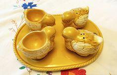 $37. Vintage Chicken & Egg Cup Cruet Set/Egg Cup/vintage chicken/ vintage cruet set/chicken