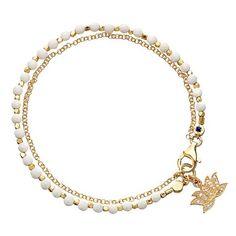 Astley Clarke 'Biography' Beaded Bracelet ($325) ❤ liked on Polyvore featuring jewelry, bracelets, lobster claw clasp charms, bracelet bangle, beaded jewelry, beading charms e indian bracelet