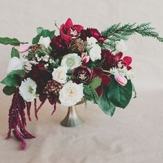 Make this 4-step Winter centerpiece (with pops of Marsala) for your holiday table!