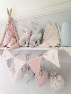 Peony & Sage Bunting At Bunny Bramble Cottage Bunny Nursery, Nursery Room, Girl Nursery, Cottage Nursery, Nursery Themes, Nursery Decor, Room Decor, Nursery Bunting, Pink Bunting