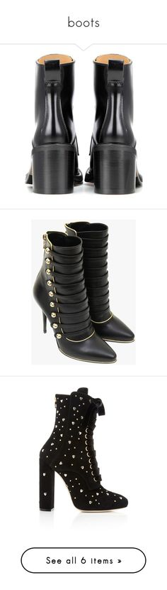 """boots"" by janeorlova ❤ liked on Polyvore featuring shoes, boots, ankle booties, ankle boots, black boots, black ankle boots, leather bootie, short boots, black high heel boots and black booties"