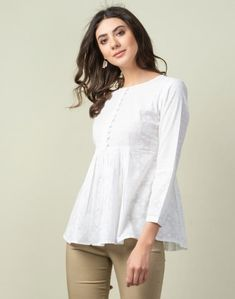 Buy Women Clothing from Fabindia Summer Collection Online Layered Kurta, Kurta Cotton, Cream Shirt, Trendy Tops, Fashion Prints, Summer Collection, New Dress, Casual Outfits, Fashion Dresses